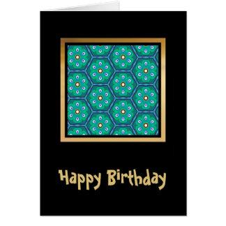 Pretty Fabric Pattern Collection - Aqua 09 Greeting Card