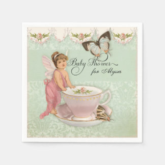 Pretty Fairy Teacup Tea Party Baby Shower Decor Disposable Serviette