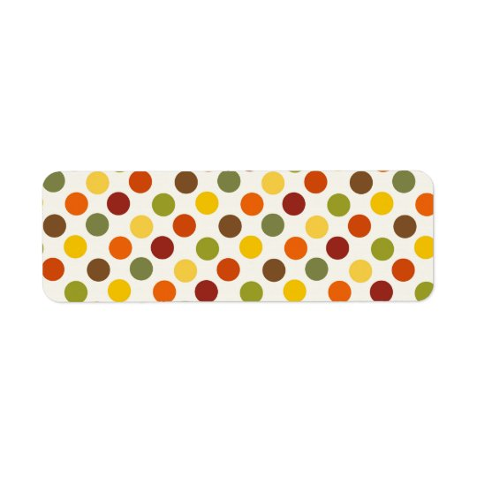 Pretty Fall Autumn Colours Polka Dots Pattern Return Address Label