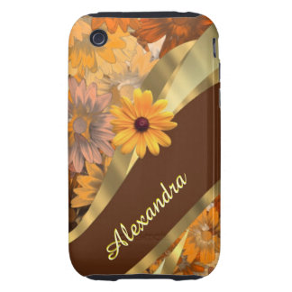 Pretty fall colored floral personalized pattern tough iPhone 3 covers