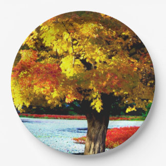 Pretty Fall Foliage Rustic Autumn Wedding Colors 9 Inch Paper Plate
