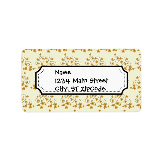 Pretty Fall Leaves with Scroll Pattern Address Label