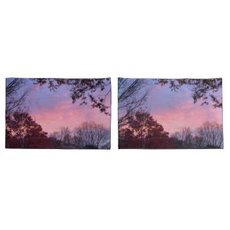 Pretty Fall Sunset Pink Blue Sky Pillowcase