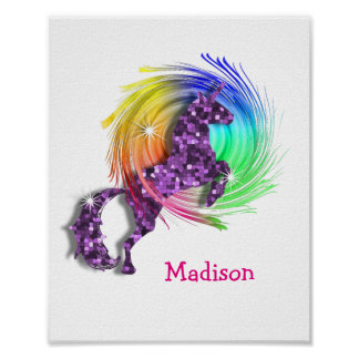 Pretty Fantasy Rainbow Unicorn Personalised Print