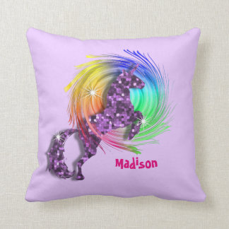 Pretty Fantasy Rainbow Unicorn Personalized Cushion