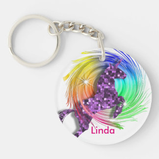 Pretty Fantasy Rainbow Unicorn Personalized Key Ring