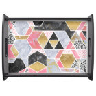 Pretty faux gold glitter marble geometric design serving tray
