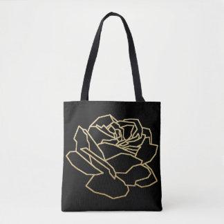 pretty faux gold rose flower, floral black tote bag