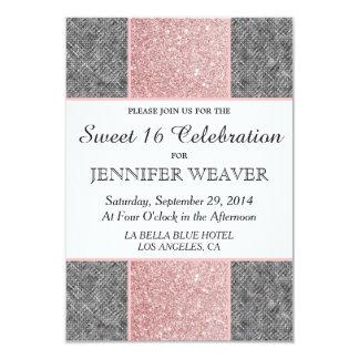 Pretty Faux Pink Glitter and Grey Fabric 9 Cm X 13 Cm Invitation Card