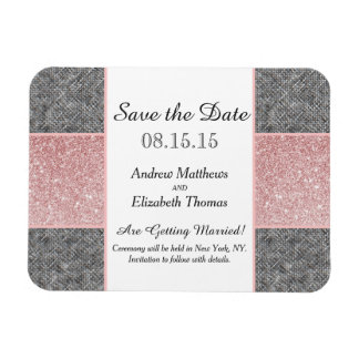 Pretty Faux Pink Glitter and Grey Fabric Rectangular Photo Magnet