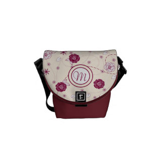 Pretty Feminine Floral Pattern with Monogram Courier Bags