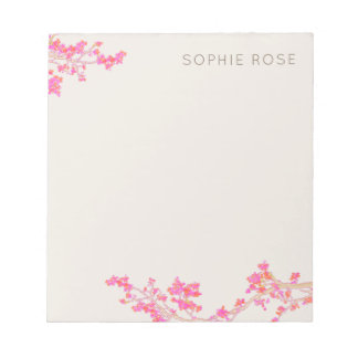 Pretty Feminine Pink Floral Notepad