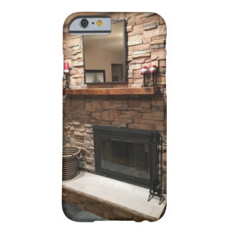 """Pretty Fireplace with """"Reclaimed Barn Wood Mantel"""" Barely There iPhone 6 Case"""