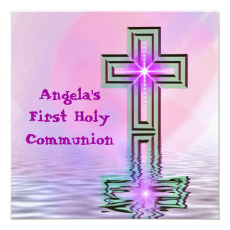"Pretty First Holy Communion 5.25"" Square Invitation Card"