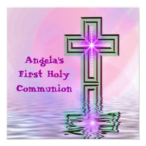 Pretty First Holy Communion Invites