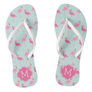 Pretty Flamingos Pattern Monogrammed Thongs