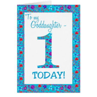 Pretty Floral 1st Birthday Card  Goddaughter Blue