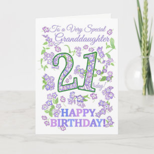 Pretty Floral 21st Birthday Special Granddaughter Card