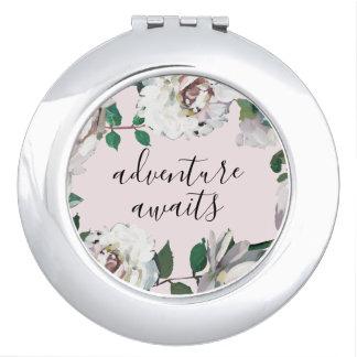 Pretty Floral Adventure Awaits Compact Mirror