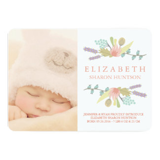 PRETTY FLORAL BABY BIRTH ANNOUNCEMENT PHOTOCARD