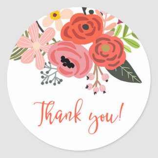 Pretty Floral Bouquet Thank You Classic Round Sticker