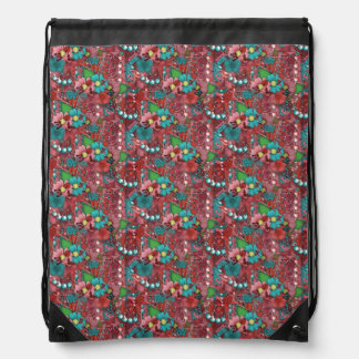 Pretty Floral Butterfly Scrap Piece Print Drawstring Bag