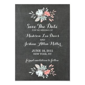 Pretty Floral Chalkboard Save The Date 13 Cm X 18 Cm Invitation Card