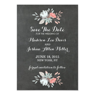 Pretty Floral Chalkboard Save The Date Card