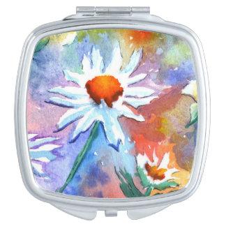 Pretty Floral Daisy Watercolour Compact Mirror