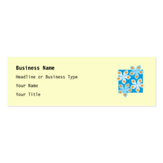 Pretty floral design, blue and cream. pack of skinny business cards