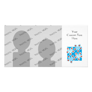 Pretty floral design, blue, red and white. customized photo card