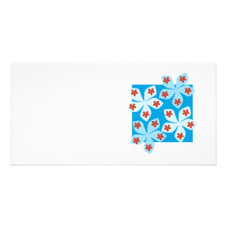 Pretty floral design, blue, red and white. photo cards