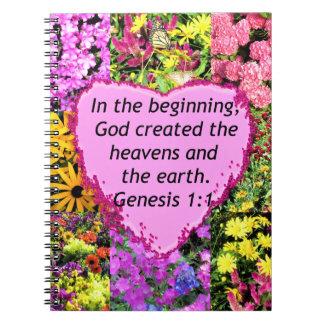 PRETTY FLORAL GENESIS 1:1 PHOTO DESIGN SPIRAL NOTEBOOK
