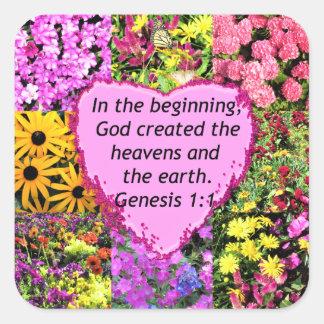 PRETTY FLORAL GENESIS 1:1 PHOTO DESIGN SQUARE STICKER