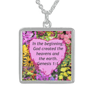PRETTY FLORAL GENESIS 1:1 PHOTO DESIGN STERLING SILVER NECKLACE