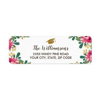 Pretty Floral Gold Graduation Cap Custom Return Address Label
