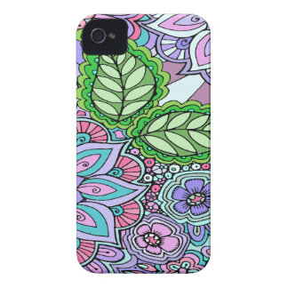 Pretty Floral Hand Drawn Doodle Pattern Case-Mate iPhone 4 Case
