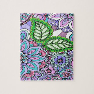 Pretty Floral Hand Drawn Doodle Pattern Jigsaw Puzzle