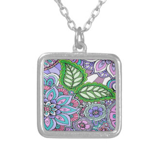 Pretty Floral Hand Drawn Doodle Pattern Silver Plated Necklace