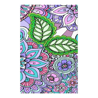 Pretty Floral Hand Drawn Doodle Pattern Stationery