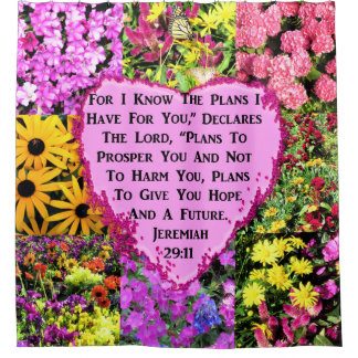 PRETTY FLORAL JEREMIAH 29:11 BIBLE SHOWER CURTAIN