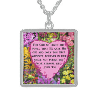 PRETTY FLORAL JOHN 3:16 DESIGN STERLING SILVER NECKLACE
