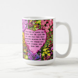 PRETTY FLORAL JOHN 3:16 PHOTO DESIGN COFFEE MUG