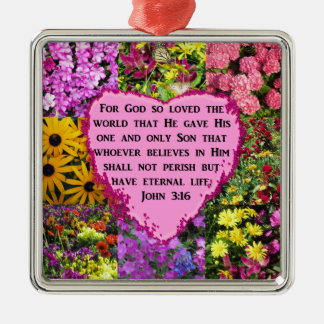 PRETTY FLORAL JOHN 3:16 PHOTO DESIGN METAL ORNAMENT