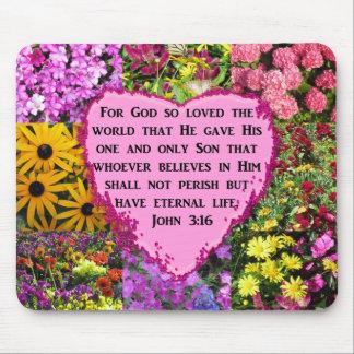 PRETTY FLORAL JOHN 3:16 PHOTO DESIGN MOUSE PAD