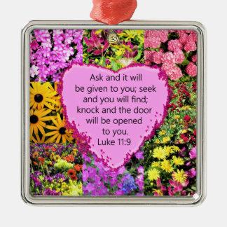 PRETTY FLORAL LUKE 11:9 SCRIPTURE DESIGN METAL ORNAMENT