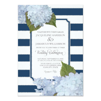 Pretty Floral Modern Elegant Navy White Stripe 13 Cm X 18 Cm Invitation Card
