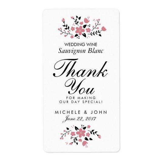 Pretty Floral Modern Wedding Wine Custom Label Shipping Label