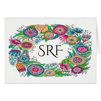 Pretty Floral Monogram Note Card