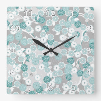 Pretty Floral Pattern in Teal, Aqua and Grey Square Wall Clock